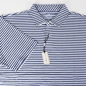 Peter Millar Striped Golf Polo Shirt Large NWT